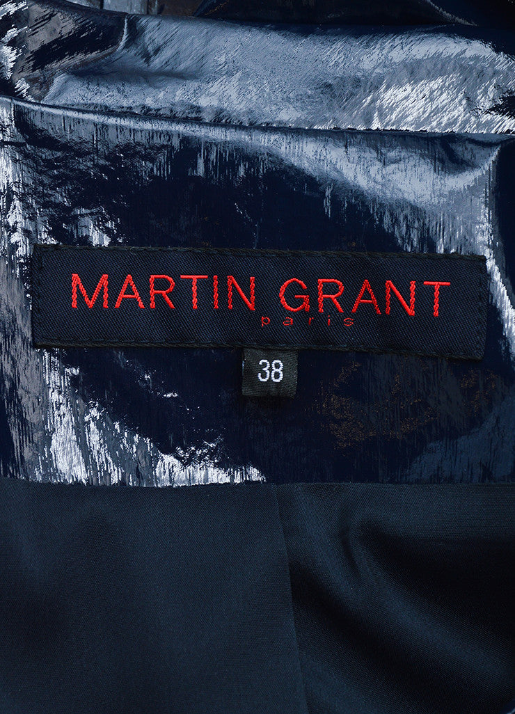 Martin Grant Navy Blue Patent Belted Cropped Jacket Brand