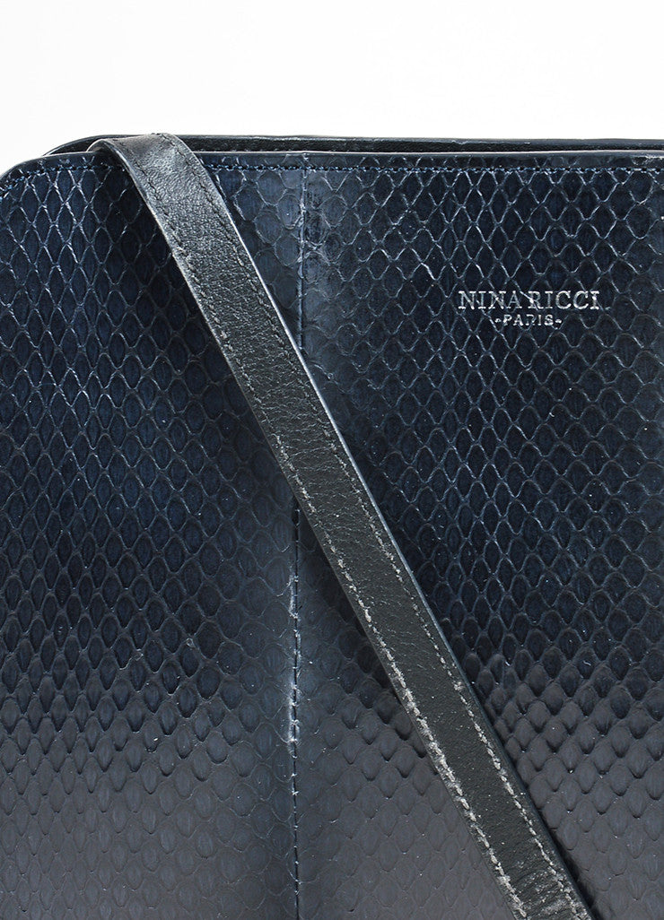 "Black and Blue Nina Ricci Suede and Snakeskin Cross Body ""Marche Duo"" Bag Detail 2"