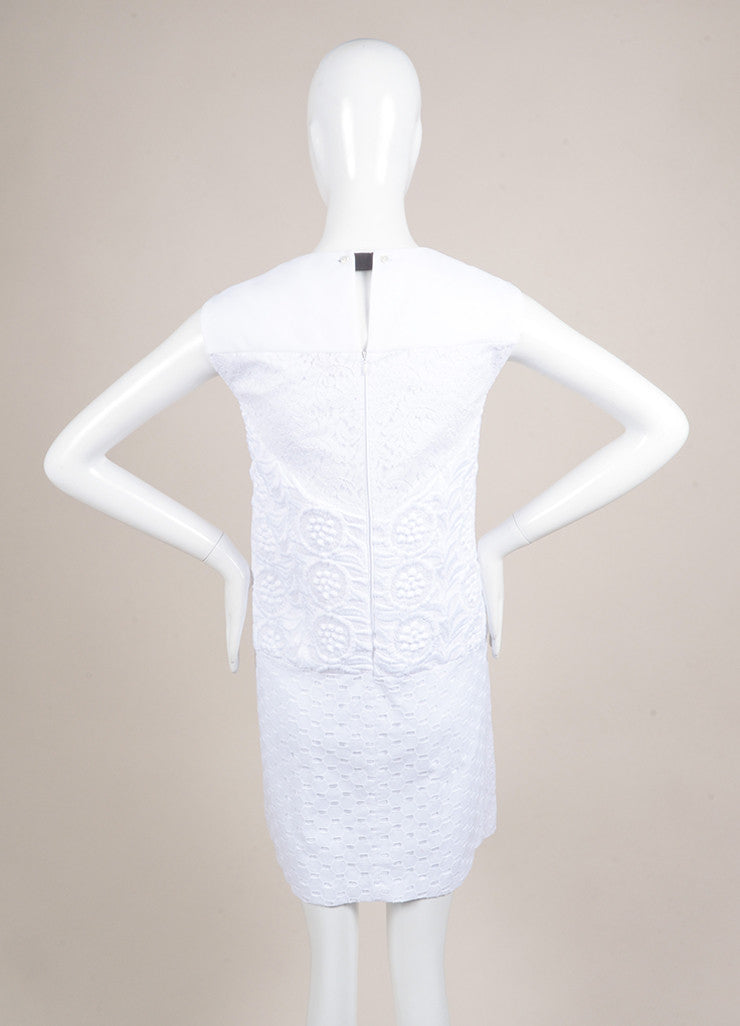 No. 21 New With Tags White Knit Eyelet Lace Trim Textured Sleeveless Dress Backview