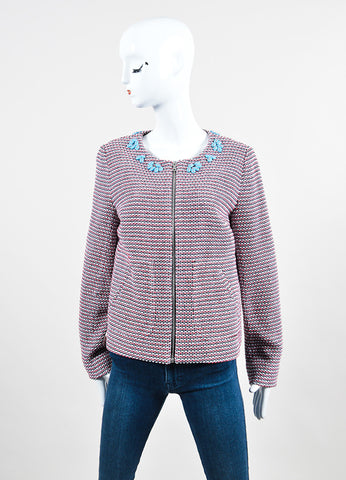 Red and White Thakoon Knit Beaded Collar Zip Tweed Jacket Frontview 2