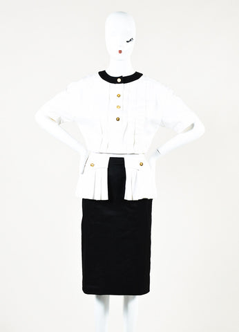 Chanel Boutique White Black Pleated Button Up Short Sleeve Dress Front 2