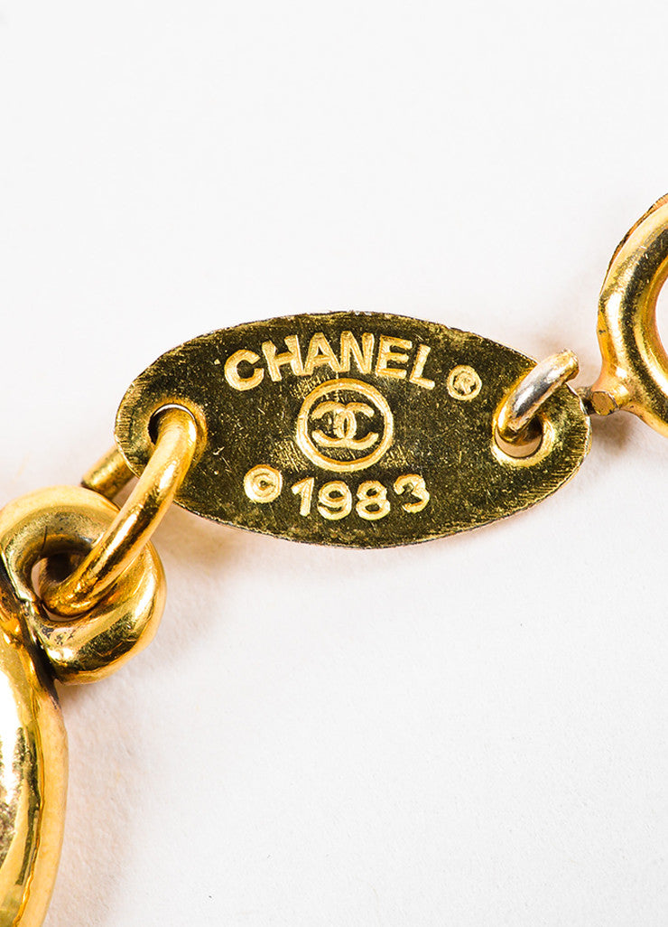 Chanel Gold Toned 'CC' Logo Chain Bracelet Brand