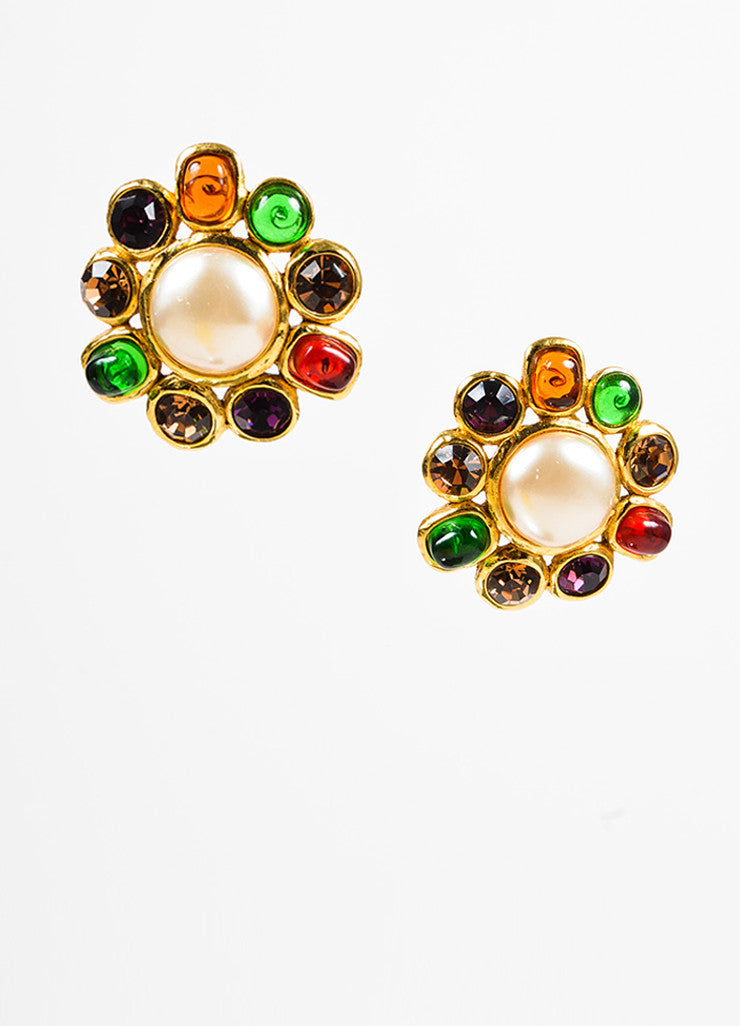 Chanel Gold Toned, Faux Pearl, and Multicolor Griproix Clip On Earrings Frontview