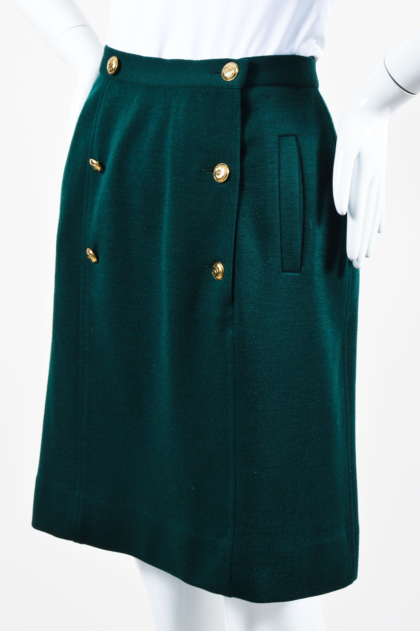 "Vintage Green Chanel Wool Sailor Gold ""CC"" Button Pencil Skirt  Side"