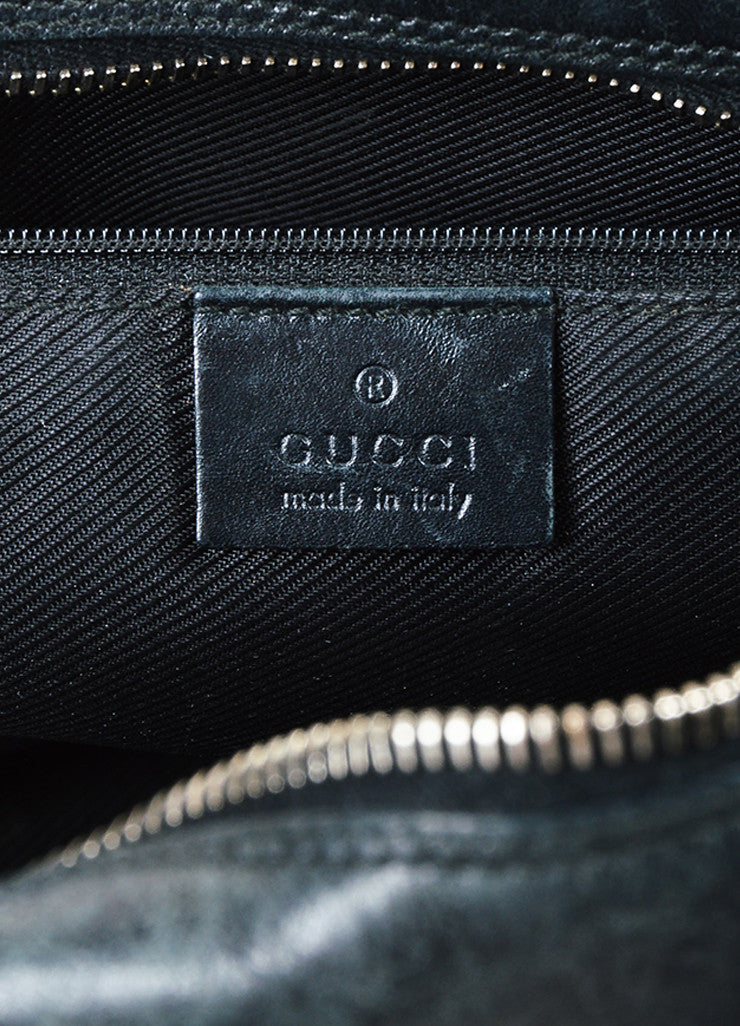 Gucci Black and Gold Toned Leather 'GG' Imprime Zip Detail Tote Bag Brand
