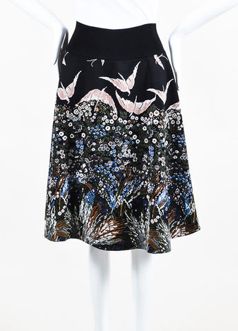 Black and Multicolor Valentino Knit Flower Bird Intarsia Circle Skirt Front