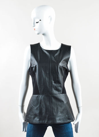 Veronica Beard Black Leather Sleeveless Corset Peplum Top Frontview