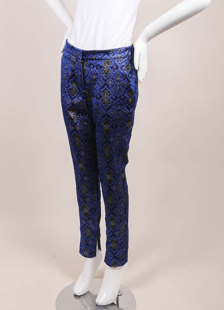 Wes Gordon New With Tags Blue and Yellow Lapis Topkaki Brocade Skinny Pants Sideview