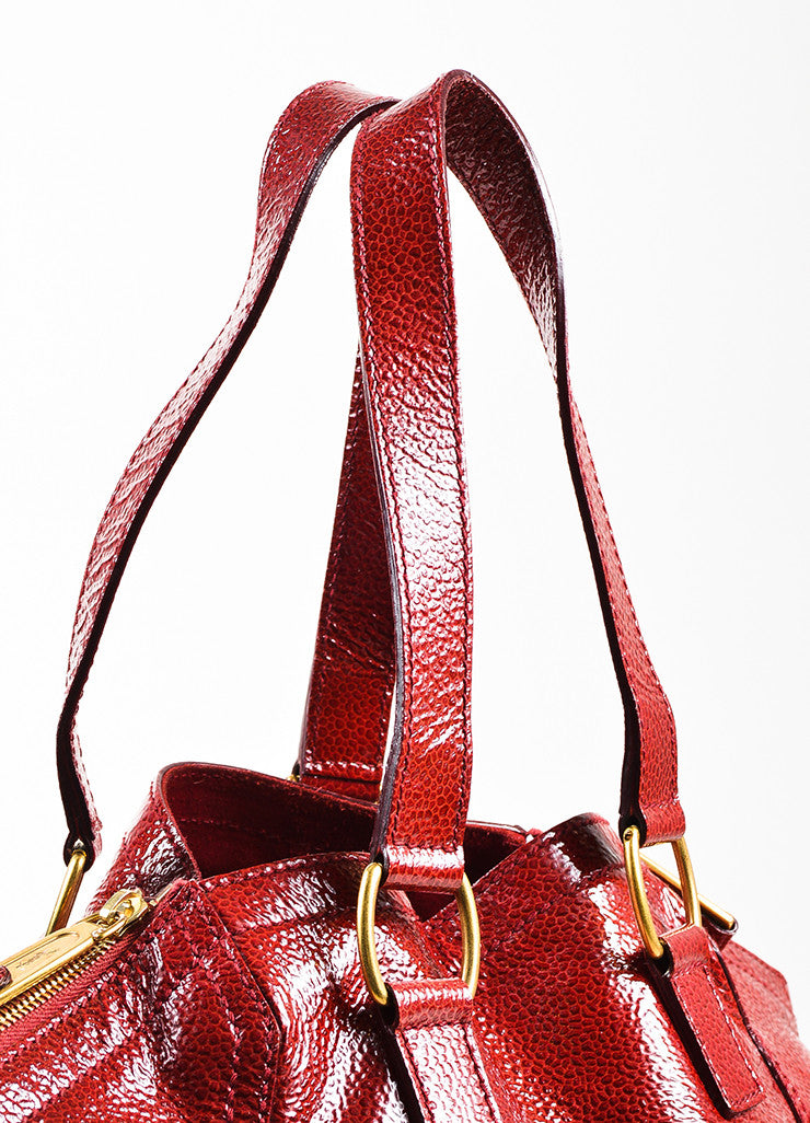 "Yves Saint Laurent Rive Gauche Red Patent Leather Small ""Downtown"" Bag Detail 2"