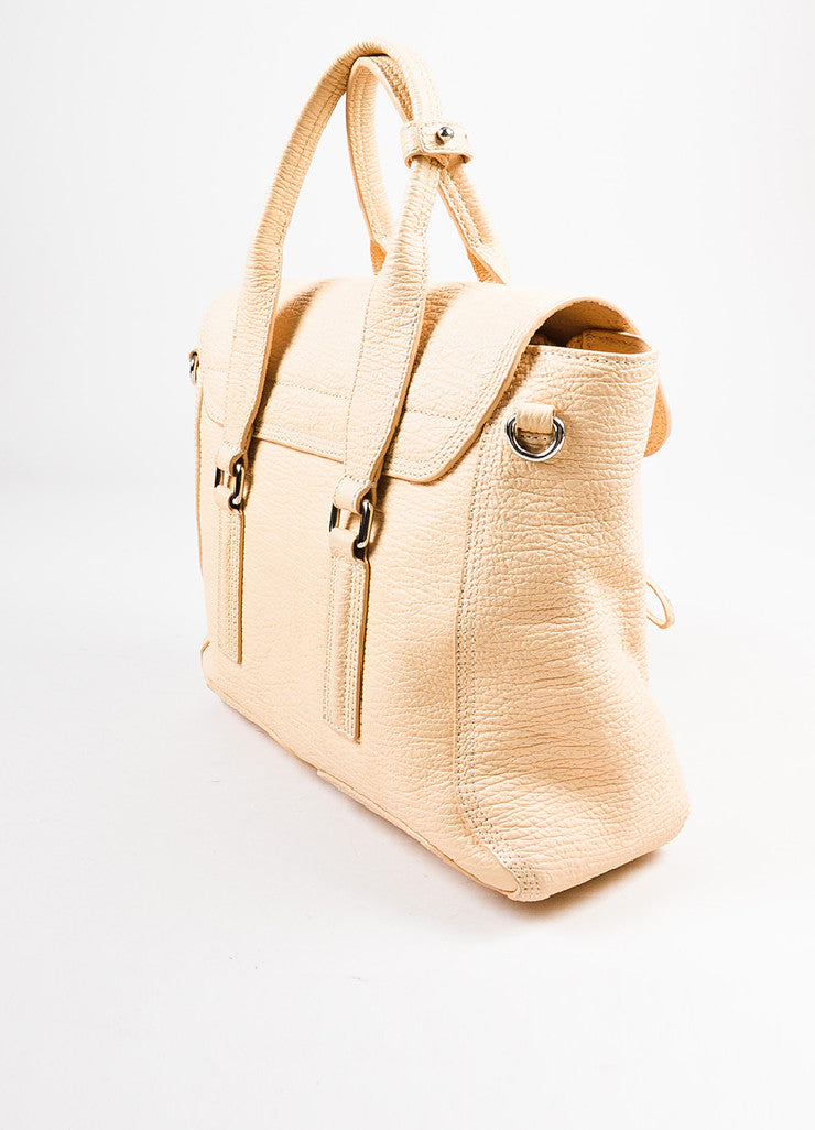 "3.1 Phillip Lim ""Buff"" Beige Grained Leather Medium ""Pashli"" Flap Satchel Bag Sideview"