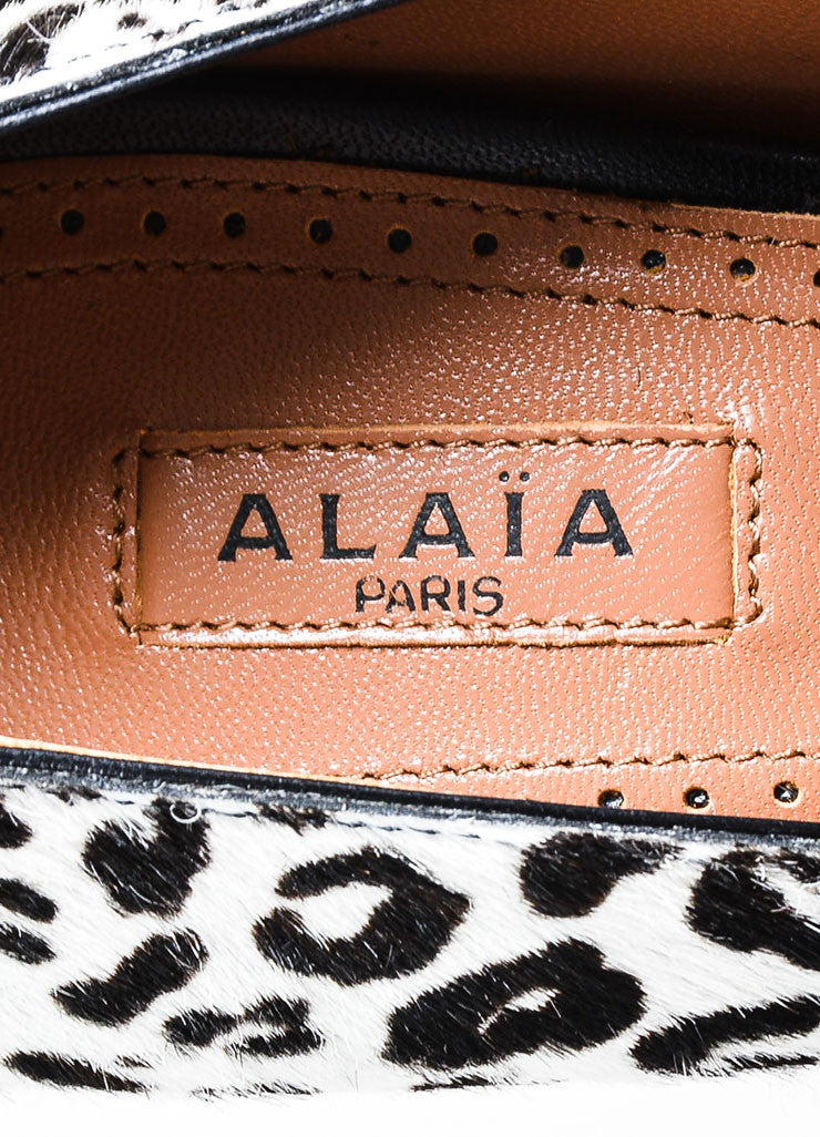 Brown and White Alaia Haircalf and Leather Leopard Print Tower Pumps Brand