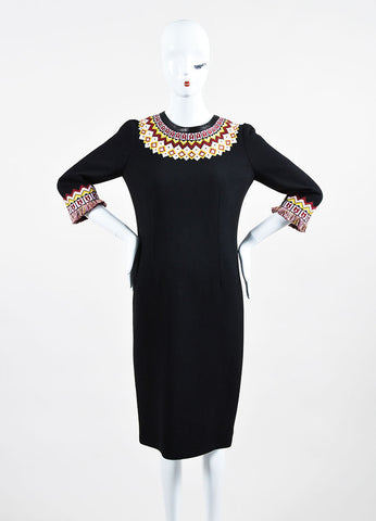 Andrew Gn Black and Multicolor Wool Three Quarter Length Sleeve Dress Frontview