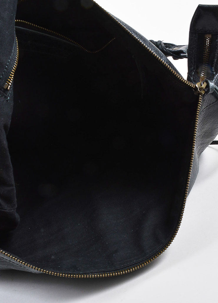 "Black Coated Leather Balenciaga ""Classic Giant Day"" Hobo Bag Interior"