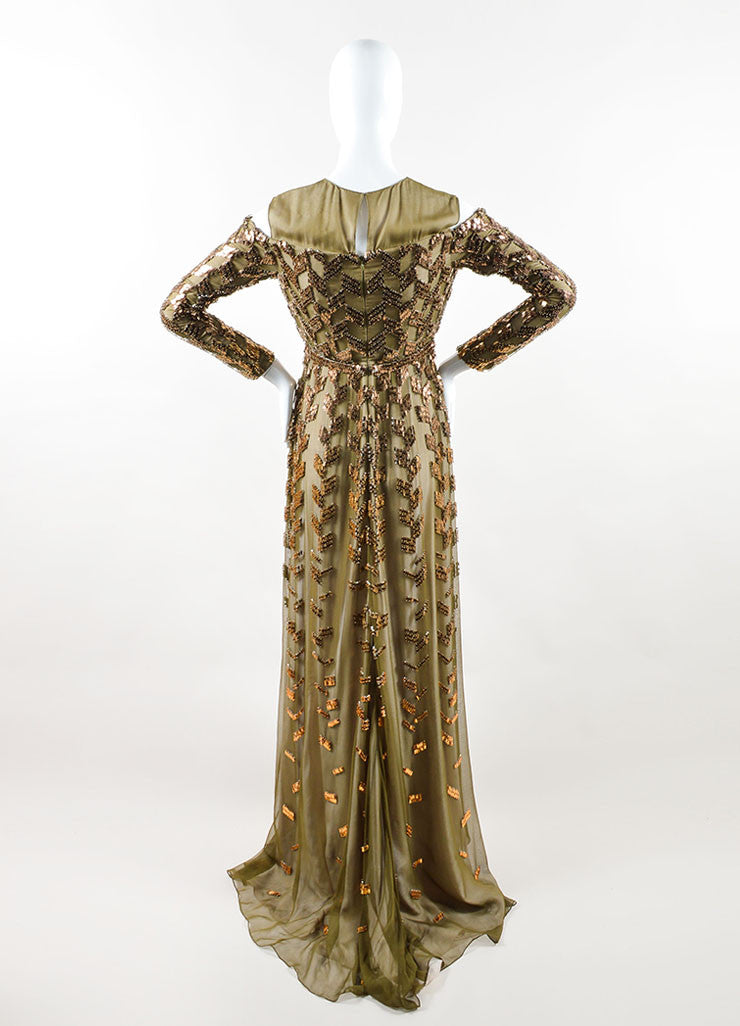 Bibhu Mohapatra Olive Copper Embellished Long Sleeve Gown Backview