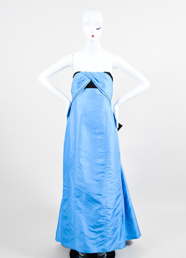 Blue and Black Carolina Herrera Silk Embellished Bow Strapless Gown Frontview