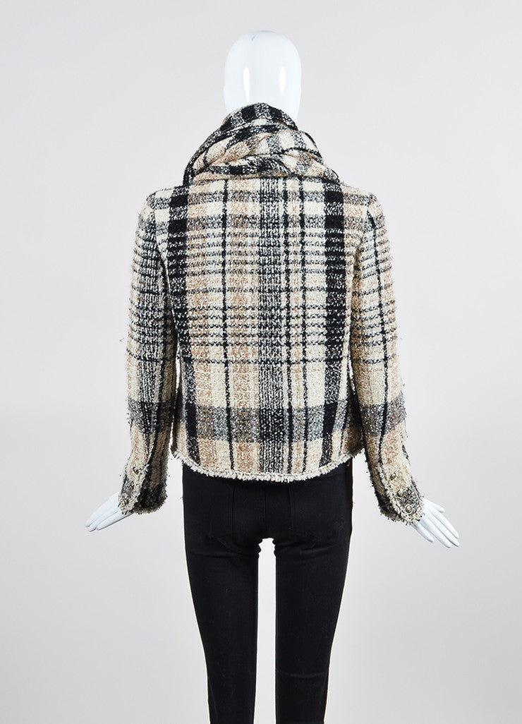 Cream and Black Chanel Plaid Tweed Frayed Zip Up Scarf and Jacket Set Backview