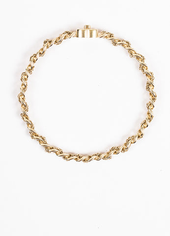 Gold Toned Chanel 'CC' Logo Curb Chain Bangle Bracelet Top