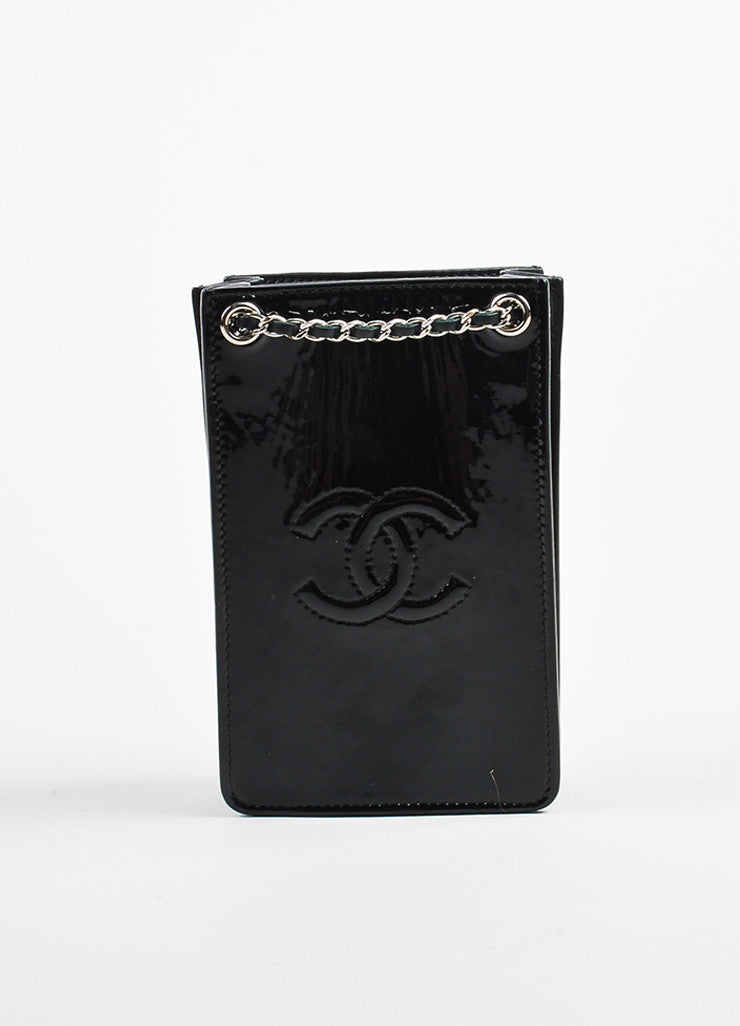 Black Chanel Patent Leather 'CC' Chain Crossbody Phone Holder Front