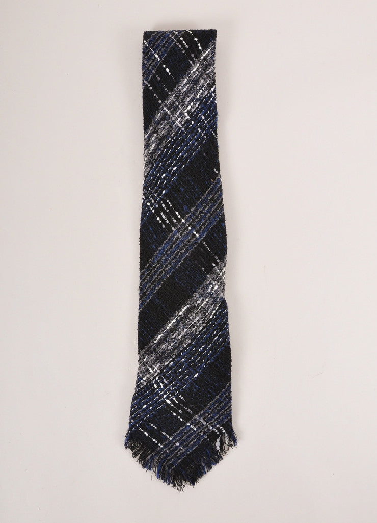 Chanel Black, Navy, and Grey Boucle Tweed Oversized Necktie Frontview