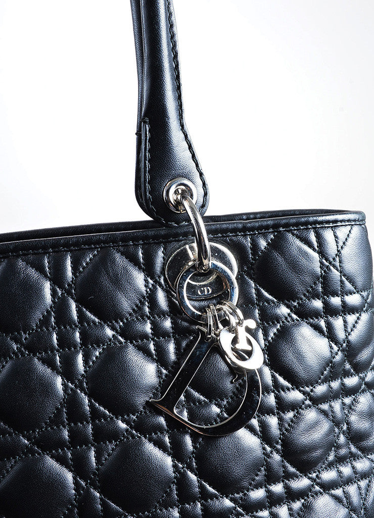 Black Christian Dior Leather Lady Dior Large Cannage Tote Bag Detail 2