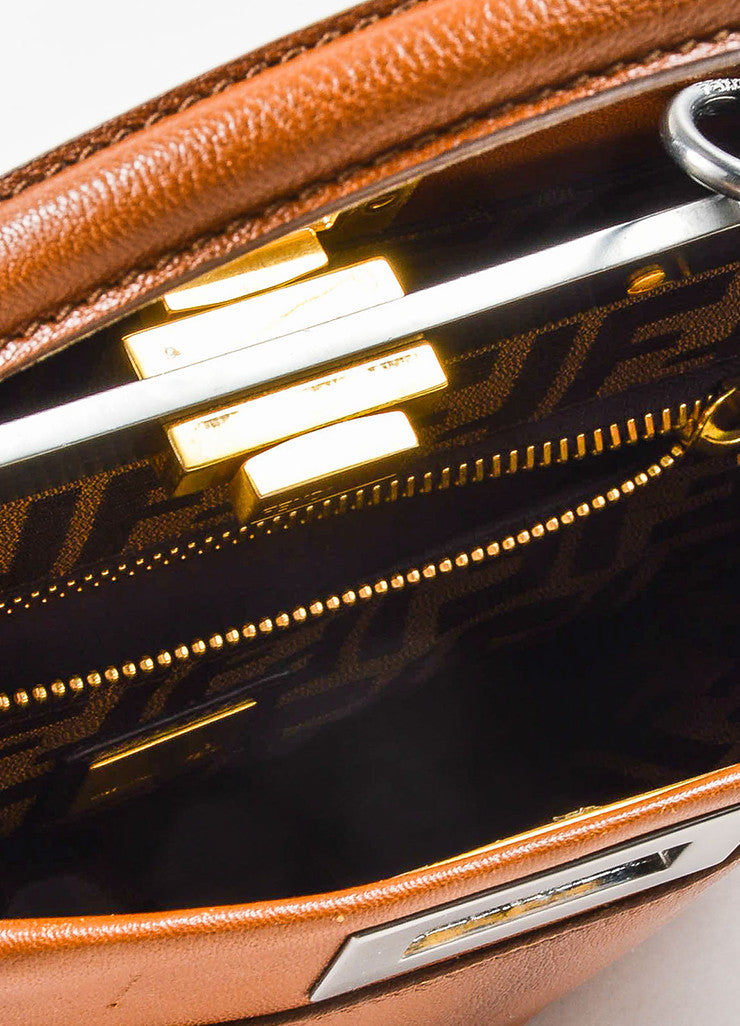 "Fendi Brown Leather Small ""Peekaboo"" Bag Interior"