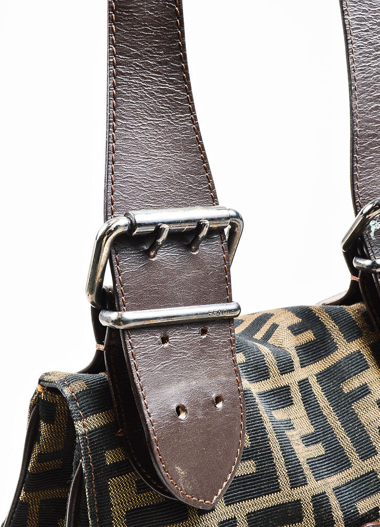 Brown and Black Fendi Canvas and Leather Monogram Crossbody Belt Bag Detail 2