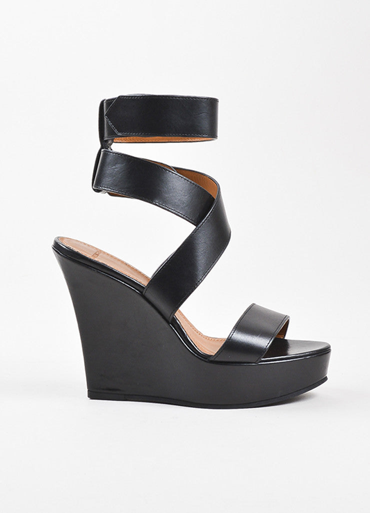 "Givenchy Black Leather Wrap Strap Platform Wedge Heel ""Corinne"" Sandals Sideview"