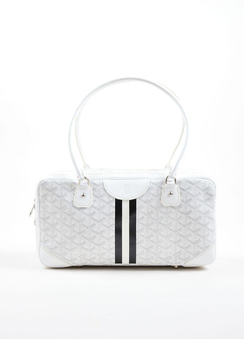 "Goyard White Coated Canvas Hand Painted Printed Monogram Stripe ""St. Martin"" Bag Frontview"
