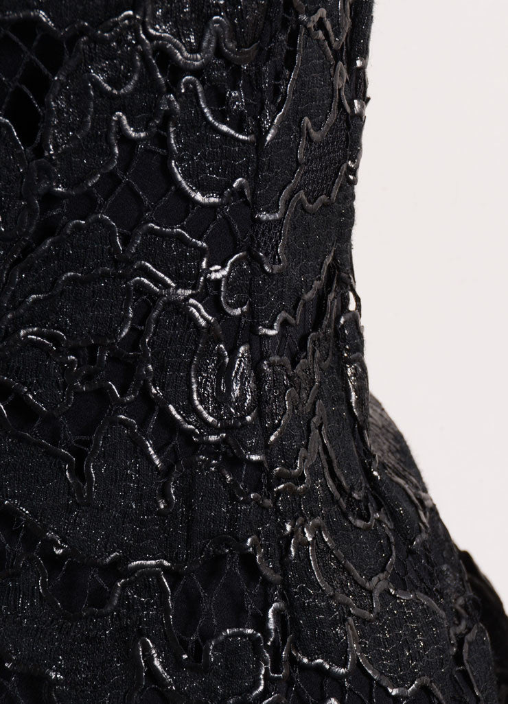 Gucci Black Coated Floral Lace Overlay Sleeveless Boatneck Sheath Dress Detail