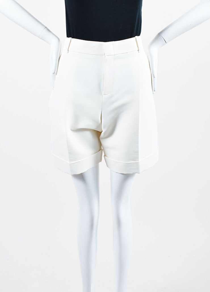 Cream Gucci Cuffed Bermuda Shorts Frontview