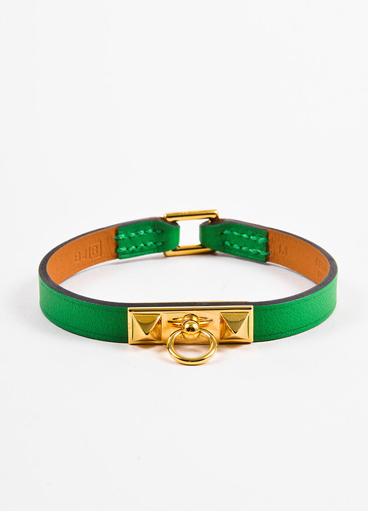 "Hermes Green Leather Gold Plated ""Micro Rivale"" Bracelet Frontview"