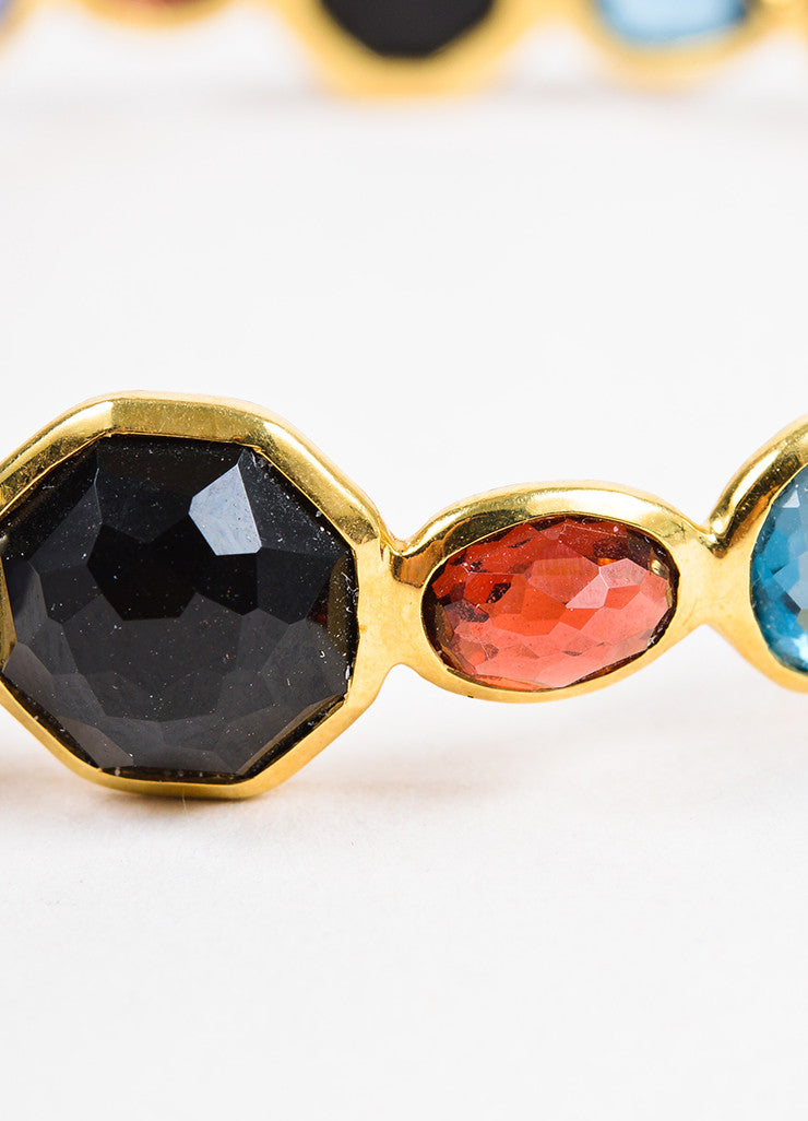 "Ippolita 18K Yellow Gold Multicolor Gemstone ""Rock Candy"" Bangle Bracelet Detail"