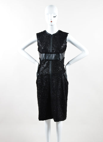 J. Mendel Black Leather Textured Paneled Sleeveless Sheath Dress Frontview