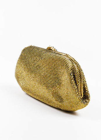 Judith Leiber Gold Rhinestone Crystal Jewel Clasp Clutch Bag Sideview