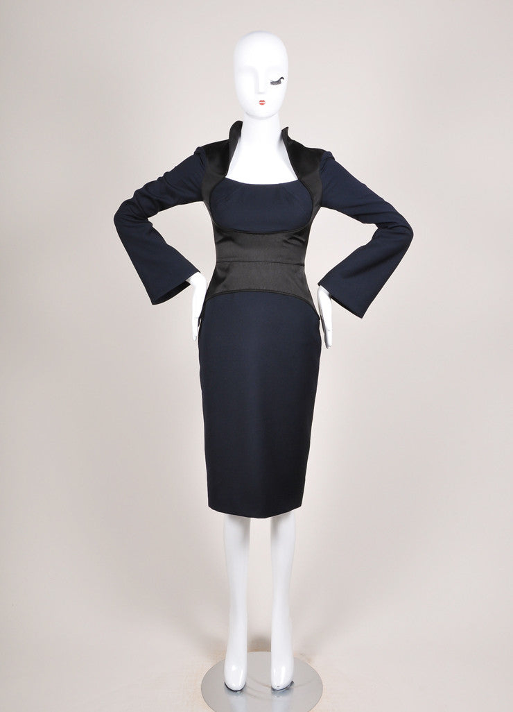 Karolina Zmarlak New With Tags Navy and Black Satin Trim Illusion Sheath Dress Frontview