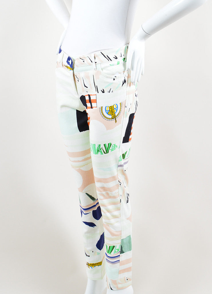 Kenzo Multicolor Torn Paper Print Ankle Zip Straight Leg Jeans Sideview