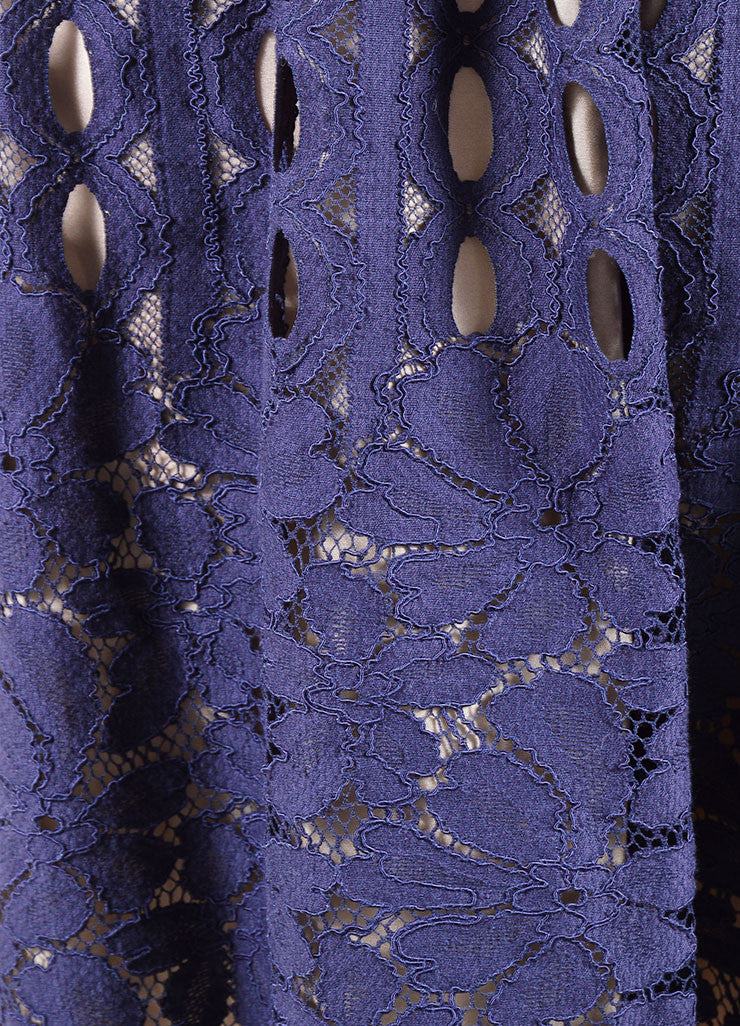 Lanvin Navy Nude Cotton Silk Eyelet Lace Scalloped A Line Skirt Detail