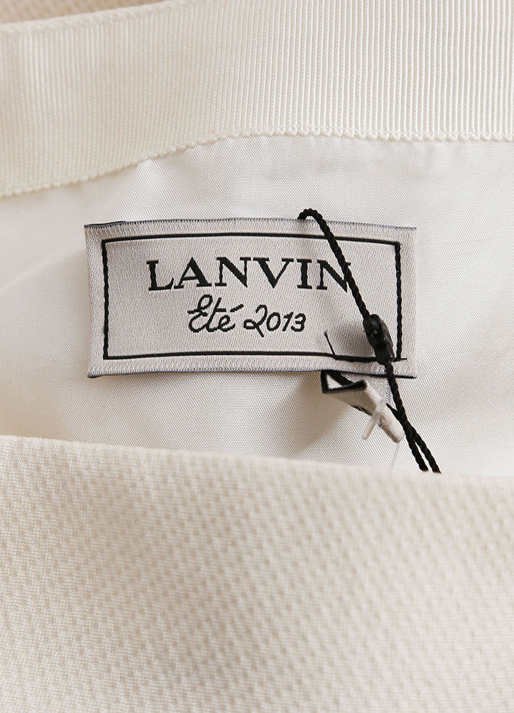 Lanvin New With Tags Cream and Black Textured Knit Oversized Bow Pencil Skirt Brand