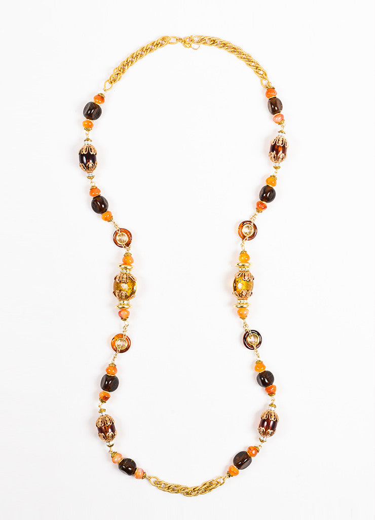 Lawrence VRBA Gold Toned Orange Amber Beaded Rhinestone Chain Necklace Frontview