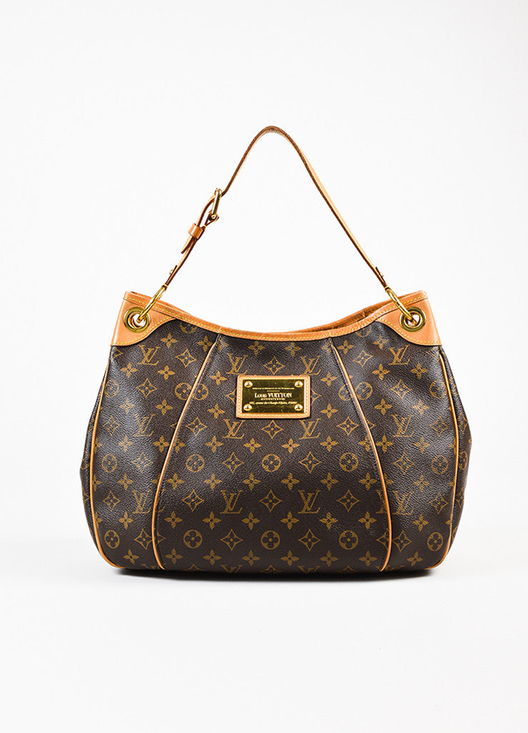 "Louis Vuitton Brown Monogram Coated Canvas ""Galliera PM"" Hobo Bag Frontview"