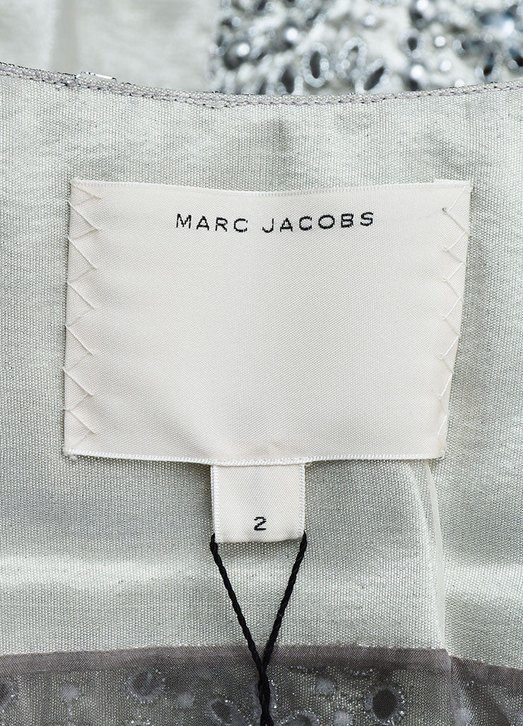 Silver Metallic Marc Jacobs Eyelet Embellished Mid Sleeve Coat Brand
