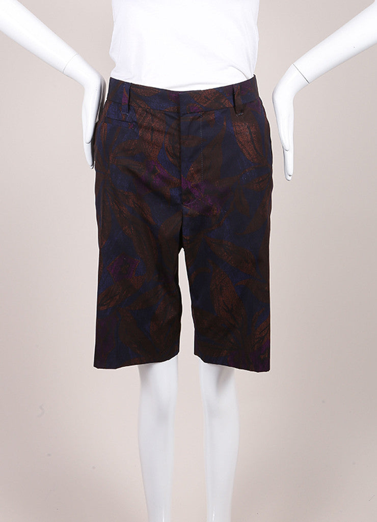 Marc Jacobs New With Tags Brown, Blue, and Purple Leaf Print Cotton Bermuda Shorts Frontview