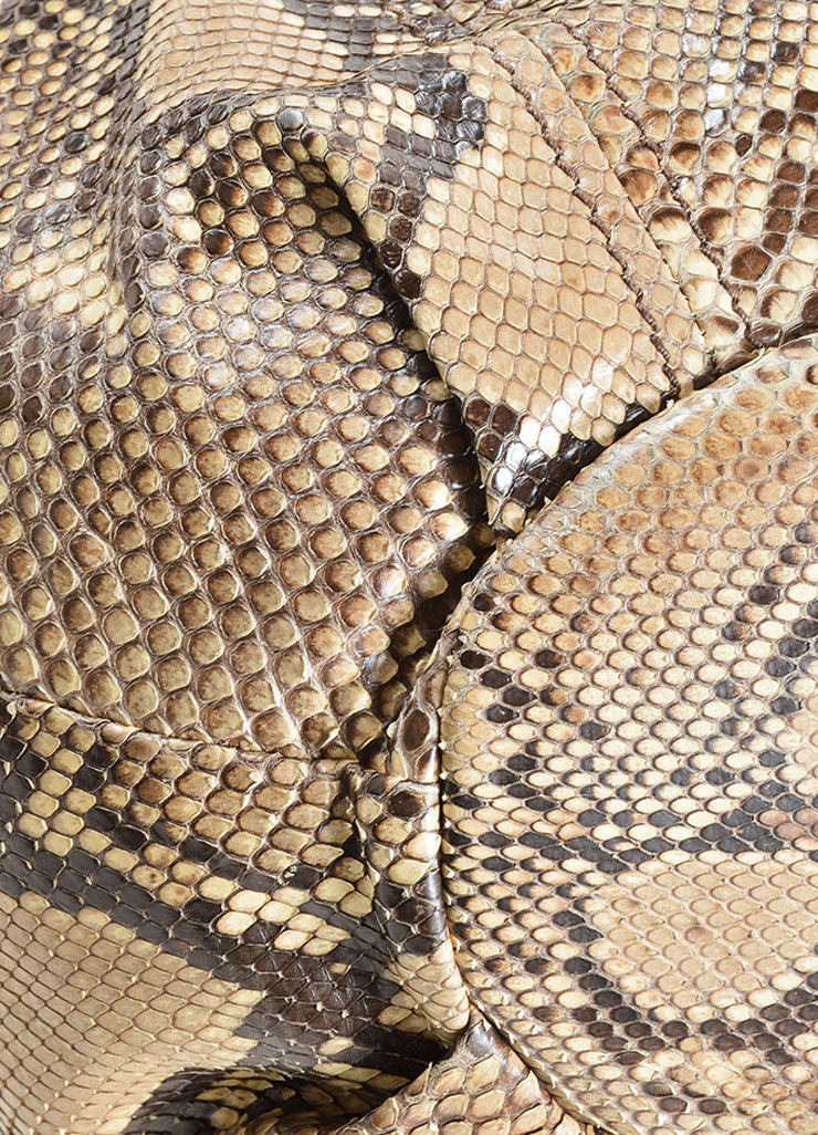 Miu Miu Brown and Beige Python Leather Hobo Bag Detail
