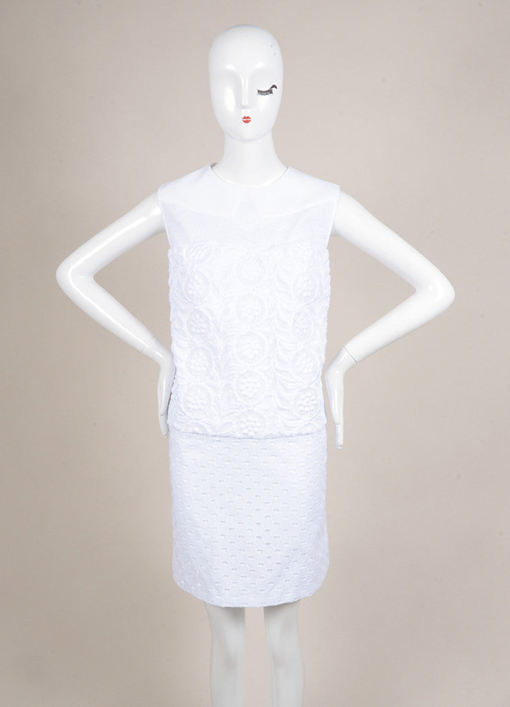 No. 21 New With Tags White Knit Eyelet Lace Trim Textured Sleeveless Dress Frontview