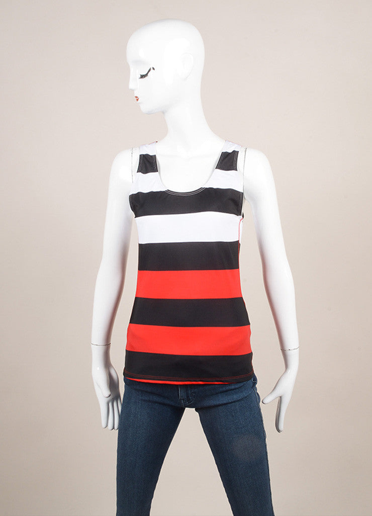 Pret a Surf New With Tags Black, Red, and White Stripe Rashguard Swim Tank Top Frontview