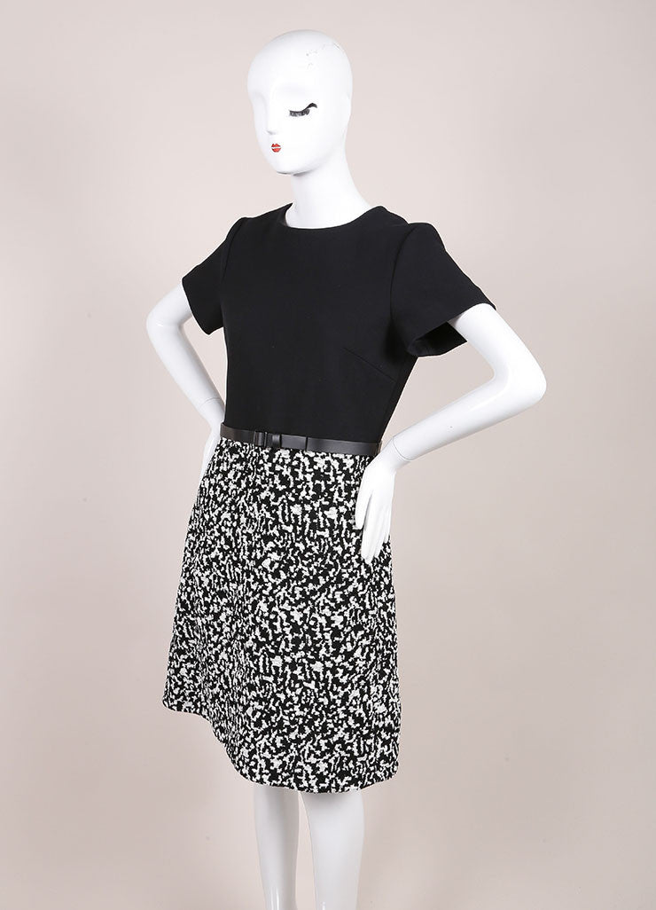Proenza Schouler New With Tags Black and White Boucle Jacquard Short Sleeve A-Line Dress Sideview