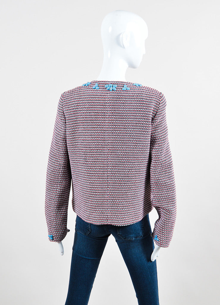 Red and White Thakoon Knit Beaded Collar Zip Tweed Jacket Backview