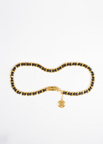 Gold Toned and Black Chanel Leather 'CC' Coin Charm Chain Belt Frontview