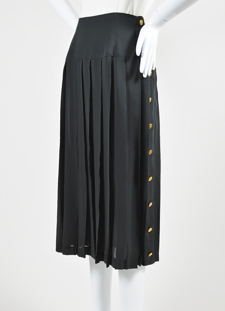 Chanel Olive Green Gold Toned Clover Button Pleated Midi Skirt Sideview
