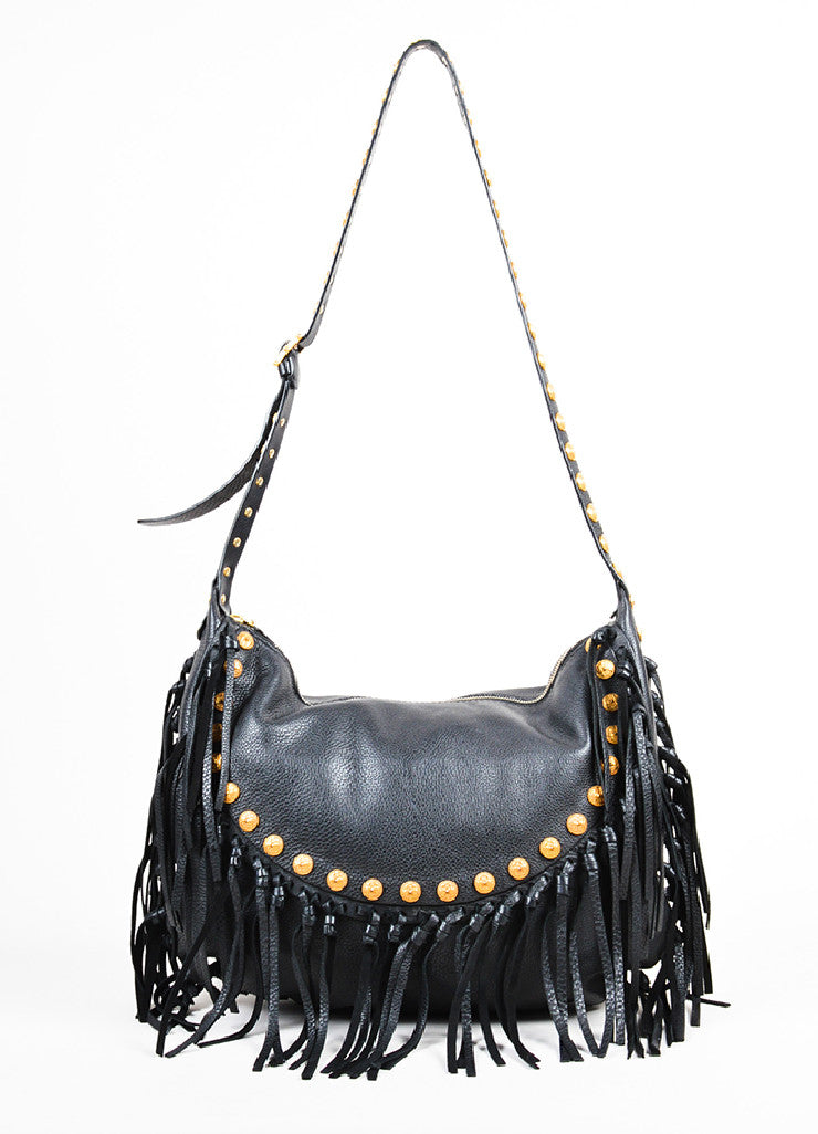 "Black Leather 	Valentino Gold Toned Studded Fringe Trim ""Rockee"" Hobo Shoulder Bag Frontview"